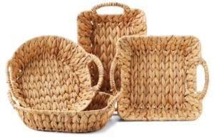 Twos Company Two's Company Hand-Crafted Handled Water Hyacinth Baskets - Set of 4
