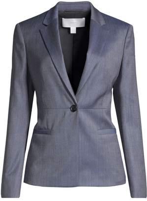 BOSS Jaliana Slim-Fit Mini Patterned Natural Stretch Wool Single-Breasted Blazer