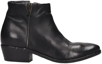Elena Iachi Low Heels Ankle Boots In Black Leather