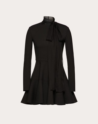 Valentino Technical Double Wool And Chiffon Dress Women Black Polyester 54%, Virgin Wool 44%, Elastane 2% 44