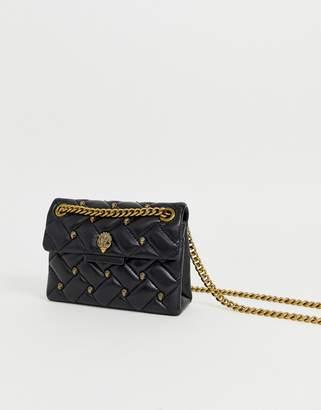 Kurt Geiger London mini Kensington black leather studded cross body bag with gold chain