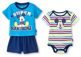 Mickey Mouse Newborn Boys' Mickey Mouse 3 Piece Bodysuit, Top & Short Set - Blue