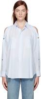 Helmut Lang Blue Cotton Lawn Cut-Out Shirt