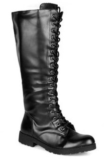 Shoelala Lace-Up Women's Combat Boots in Black