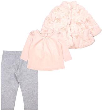 Biscotti Girls' Non-Denim Casual Jackets PEACH - Peach Rosette Faux Fur Jacket Set - Infant & Toddler