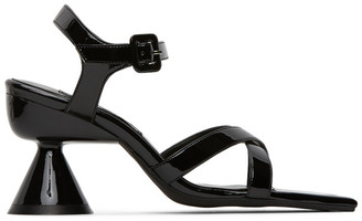 Paula Canovas Del Vas Black Faux-Leather Diablo Heeled Sandals
