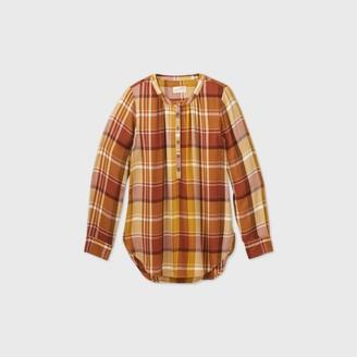 Universal Thread Women's Plaid Long Sleeve Tunic Popover Blouse - Universal ThreadTM