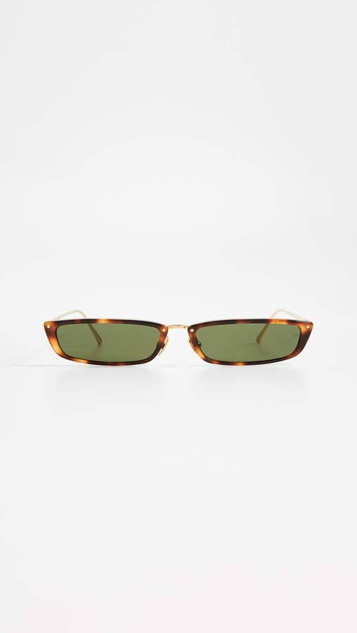 Linda Farrow Luxe Narrow Rectangular Sunglasses