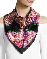 Givenchy Square Silk Twill Kaleidoscope Scarf, Black/Multicolor