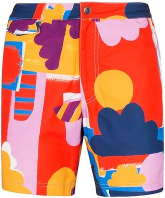 Sunspel X John Booth Cloud Print Swim Shorts