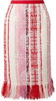 Oscar de la Renta Fringed Tweed Skirt - Pink