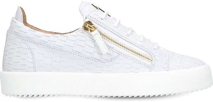 Giuseppe Zanotti Croc-embossed low-top leather trainers
