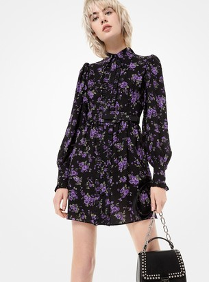 Michael Kors Floral Silk-Georgette Ruffled Shirtdress