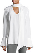 Equipment Jacqueleen French-Cuff Tie-Neck Silk Blouse