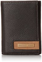 Geoffrey Beene Men's Trifold In Milled Leather with Plaque Logo