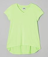 Erge Neon Lime V-Neck Hi-Low Tee - Girls