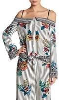 Flying Tomato Cold Shoulder Front Button Print Blouse