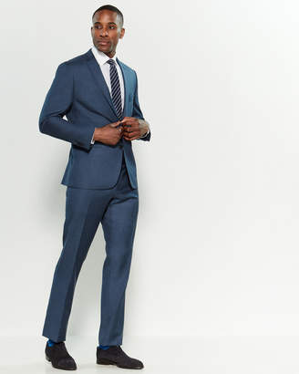 Vince Camuto Two-Piece Navy Sharkskin Slim Fit Wool Suit