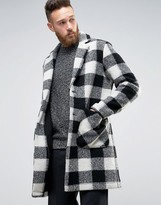 Asos Wool Mix Overcoat In Black And White Check