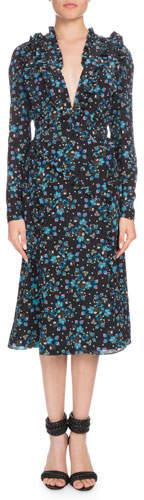 Altuzarra Ourika Deep-V Long-Sleeve Vine-Print Silk Dress w/ Ruffled Trim