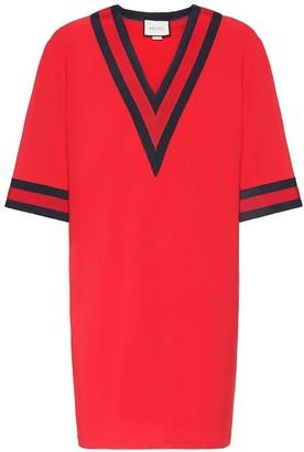 Gucci Stretch-cady V-neck tunic dress