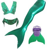 LB Girls' 4pcs Tops Panties Mermaid Tail for Swimming Swimwear with Swimming Fins