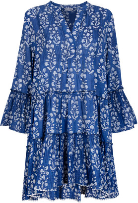 Juliet Dunn Pleated Floral-Print Cotton Mini Dress