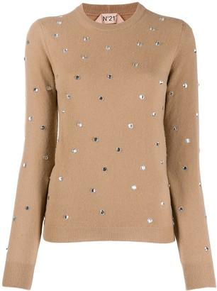 No.21 crystal-embellished jumper