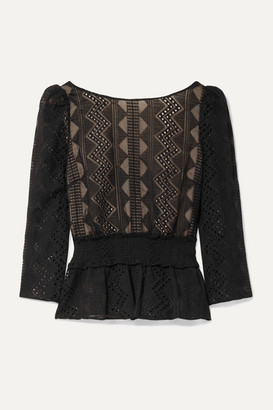 Rachel Zoe Peri Smocked Embroidered Crepon Blouse - Black