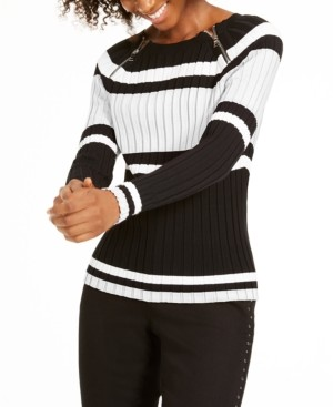 INC International Concepts Inc Petite Stripe Zipper Sweater, Created for Macy's