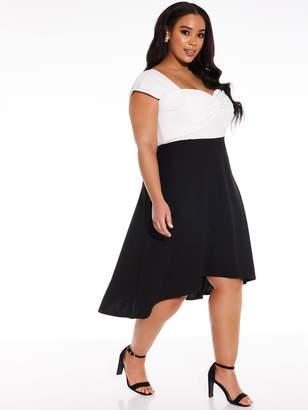 Quiz Curve Knot Front Dip Hem Dress - Black/Cream