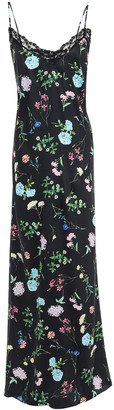 Paper London Tuberose Lace-trimmed Floral-print Twill Maxi Slip Dress