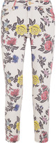 House of Holland Cropped Mid-rise Floral-print Skinny Jeans - White