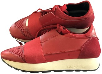 Balenciaga Race Red Leather Trainers