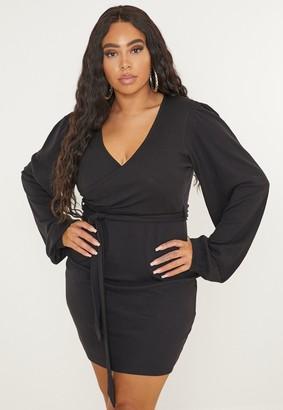 Missguided Plus Size Black Rib Puff Sleeve Belted Mini Dress