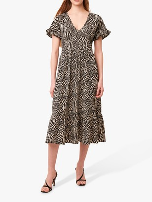 French Connection Geriel Zebra Print Tea Dress, Multi
