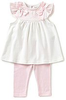 Starting Out Baby Girls Newborn-6 Months Dotted Bow Top & Solid Leggings Set