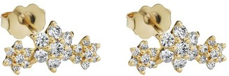 Maria Tash 18kt Yellow Gold Three Diamond Flower Garland Stud Earring