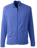 Lands' End Men's Big Performance Cotton Sweater Jacket-True Blue