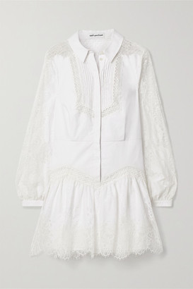 Self-Portrait Lace And Gauze-trimmed Cotton-poplin Mini Shirt Dress - White