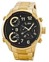 JBW Men's G4 Three Time Zone Swiss Movement Genuine Leather Real Diamond Watch