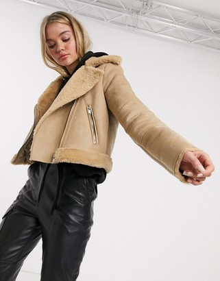 Stradivarius short aviator jacket in beige