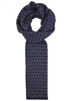 Fendi Navy Logo-intarsia Wool Scarf