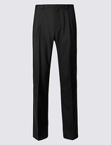 M&S Collection Regular Wool Blend Single Pleated Trousers