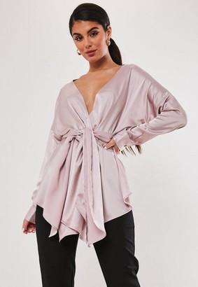 Missguided Petite Dusky Pink Satin Plunge Tie Waist Blouse