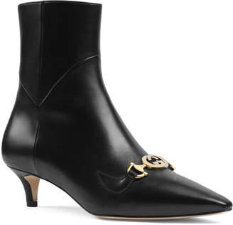 Gucci Zumi Napa Point-Toe Booties with GG Horsebit