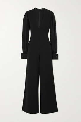 Marika Vera Hutton Stretch-jersey And Chiffon Jumpsuit - Black