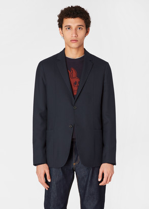 Paul Smith Men's Tailored-Fit Dark Navy Wool 'A Suit To Travel In' Panel Blazer