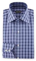 Tom Ford Bicolor Double-Check Slim-Fit Shirt, White/Black