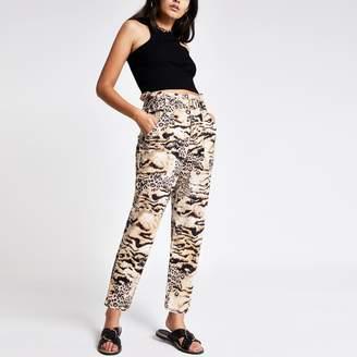 River Island Womens Brown animal print paperbag jeans